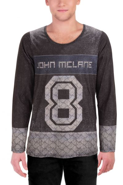 "Lässiges Longsleeve mit Applikationen ""Eight"" - grey - 3341"