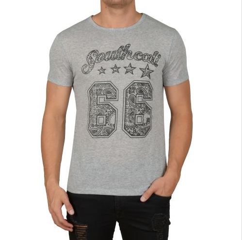 "D & A Slim-Fit T-Shirt ""Southcali"" - grey, navy, black, anthracite"