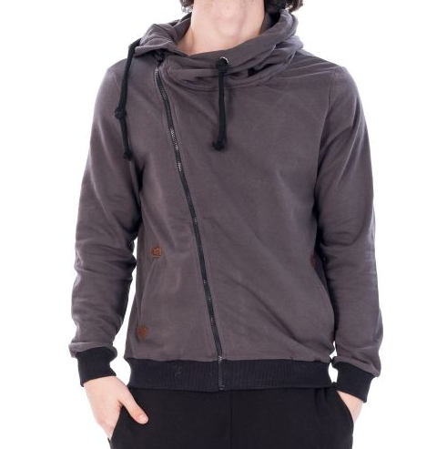 D & A Lifestyle Basic Side Zipper Zip Hoodie - dark grey