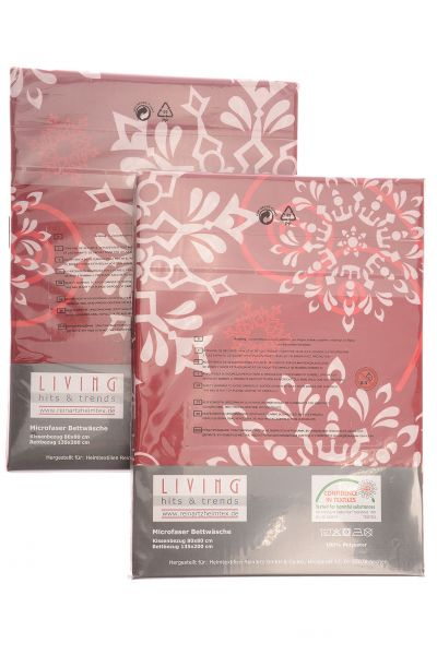 "LIVING Microfaser ""Krista"" 2er-Set Bettwäsche dark red"