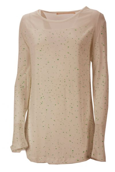 Mellow Peach Shirt Green Dots