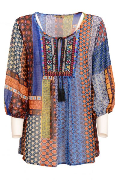 "Danny ""Indian Ornament"" Bluse large fit - multicolor"