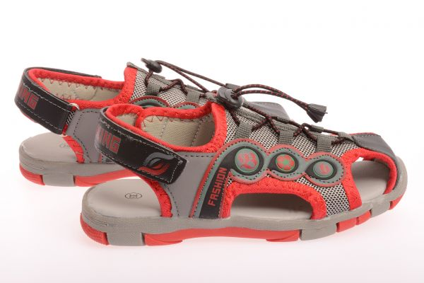 "Kindersandalen ""Black"" - black/grey/red"