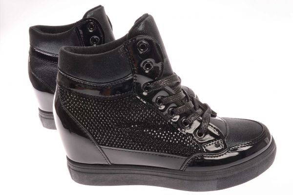 High-Top Plateau Sneaker mit Glanz - 9263 - black