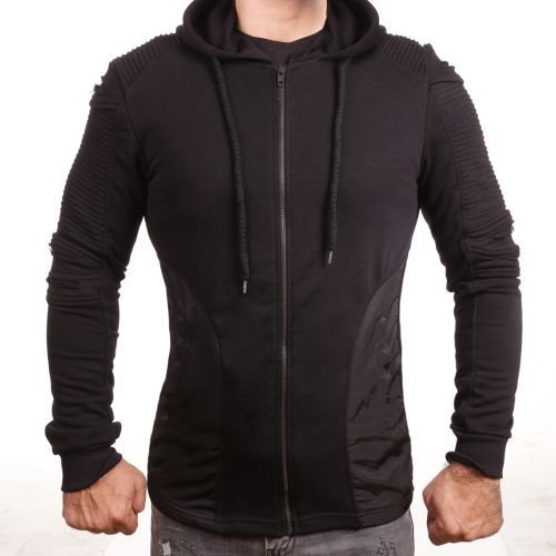 D & A Ripped Sweat mit Kunstleder - black