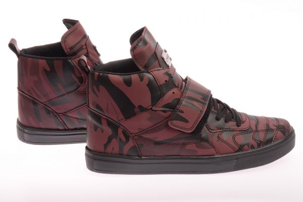 "Sportliche High-Top Sneaker ""Pampel"" - red camo"