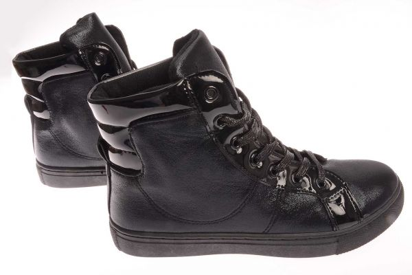 High-Top Sneaker mit metallischem Glanzeffek - 9392 - black