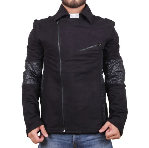 D & A Sweatjacke im Biker-Look - black