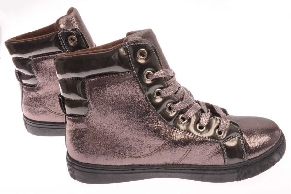 High-Top Sneaker mit metallischem Glanzeffekt - 9392 - copper/metal