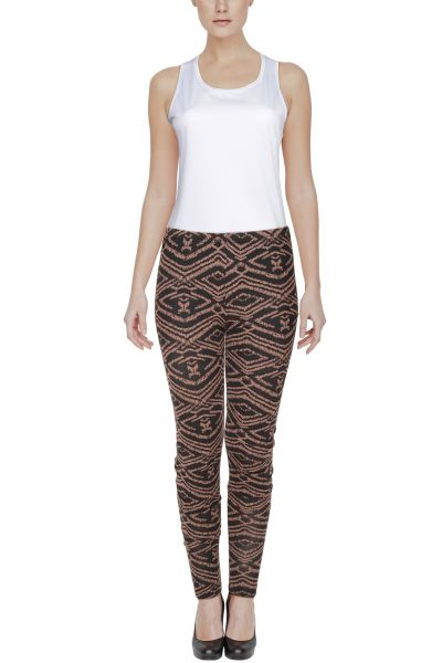 Leggings mit Inka-Muster - black/rose