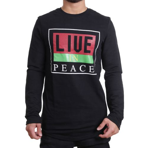 "D & A Sweatshirt ""Live in Peace"" - black"