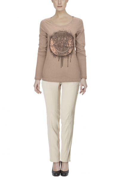 "*GEHEIMTIPP* Longsleeve ""Smiley"" light brown"