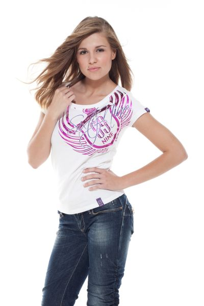"""Collection 69 T-Shirt """"Two numbers One word"""" - white/purple"""