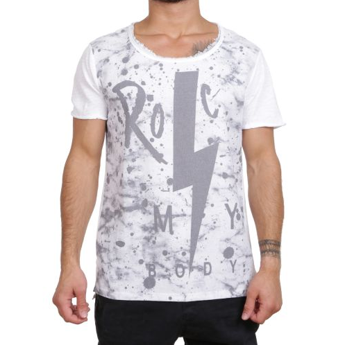 "D & A Slim-Fit T-Shirt ""Rock"" - white/grey"