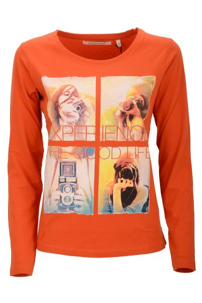 Longsleeve mit Print  'Experience The Good Life' - Orange/Red