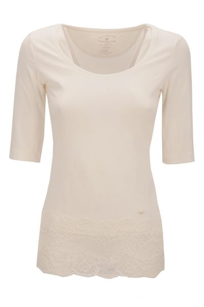 *GEHEIMTIPP* stretch tee with lace - White