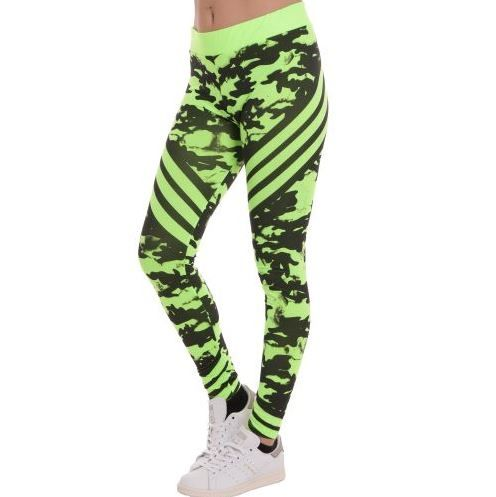 D & A Leggings im Neon-Design - black, green neon