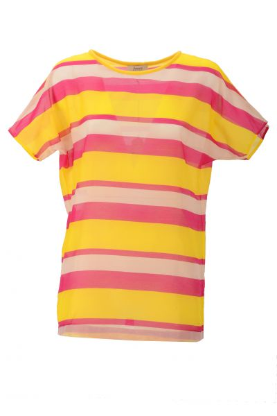 Flowers For Friends T-Shirt Stripes - yellow/pink