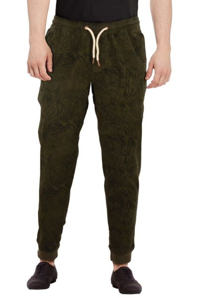 Chino im Sweatpants Look mit Muster - olive