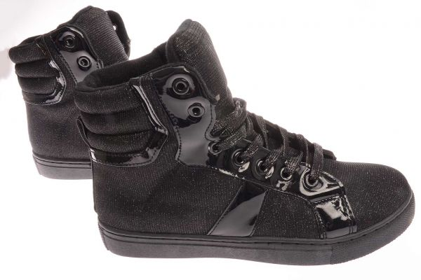 High-Top Sneaker mit Glanzeffekt - 9361 - black