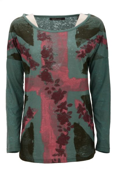 "Longsleeve mit Print ""Crossflower"" Regular-Fit - Green"
