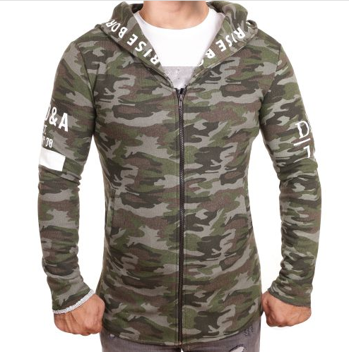 "D & A Sweatjacke ""Born to rise"" - grey, olive, camo"