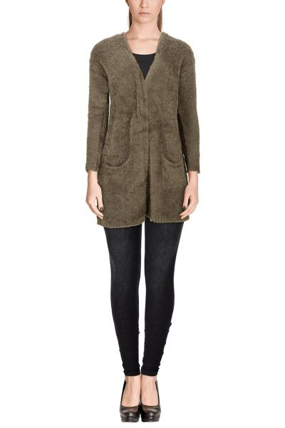 "*GEHEIMTIPP* Long-Cardigan ""Teddy"" - taupe"