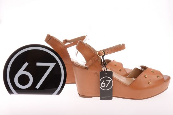 "Sixtyseven Collection Peeptoe Sandalen ""Vachetta"" - Natural"