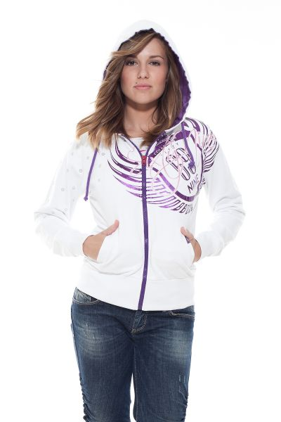 """Collection 69 Kapuzenjacke """"Two Numbers One Word"""" - white/purple"""