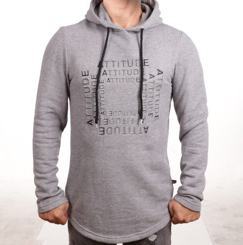 "D & A Regular-FIt Hoodie ""Attitude"" - grey"