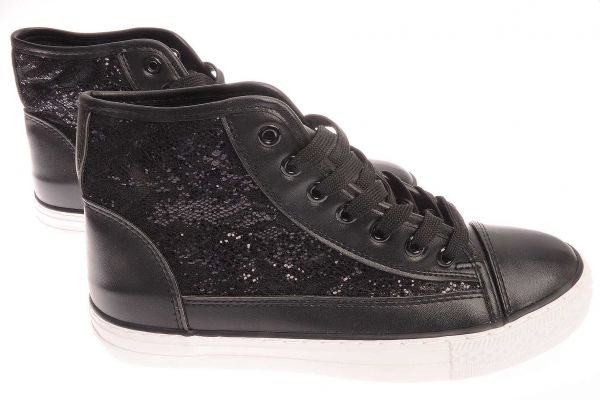 High-Top Sneaker mit Glanzeffekt - 85-88 - black
