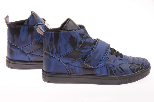 "Sportliche High-Top Sneaker ""Pampel"" - blue camo"