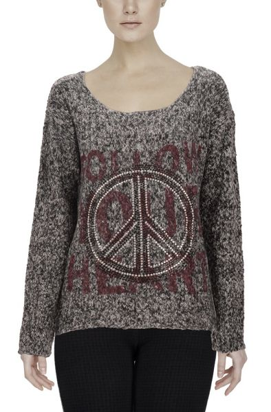 "Laura Scott Oversize Pullover ""Peace"" - grey"