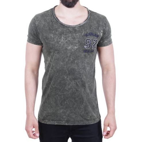 "D & A Washed ""Harlem"" T-Shirt - olive, white, anthracite"