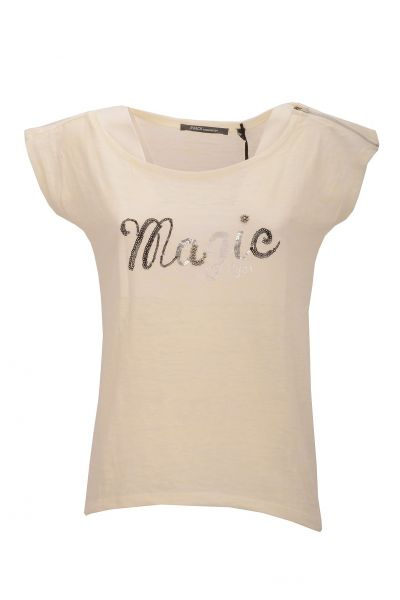 T-Shirt mit dekorativem Print 'Magic Eyes' - Creme