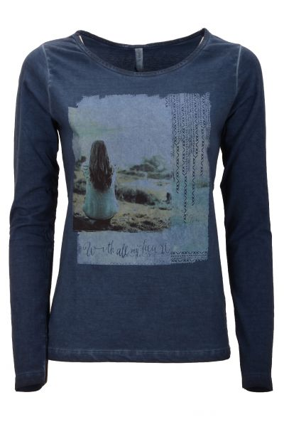 Longsleeve mit Print 'With All My Heart'  - Blue